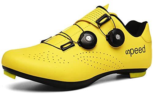 [NOXNEX] サイクルシューズ 通気性 MTBシューズ 自転車 SPD/SPD-SL両対応 カジュアル ロード シュ−ズ バイク 靴 快速靴紐 ベルクロ 滑りにく サイクリングシューズ メンズ用& レディーズ 用 初心者 (イエロー-20,26.5cm
