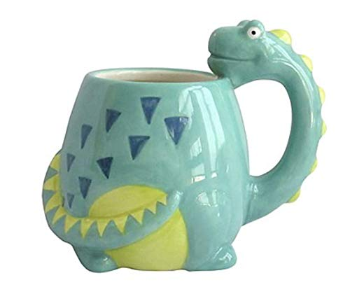3D Embossed Green Dinosaur Shaped Drinking Mug
