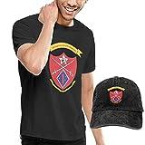 1a División de Infantería de Marina, 1er Batallón, 5o Regimiento de Infantería de Marina, Camisas para Hombre, Camiseta de Manga Corta con Tendencia a la Moda para Adultos + Sombrero de Vaquero