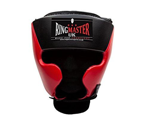 UK Ring Master Boxe Testa Custodia in Eco Pelle Nero Rosso