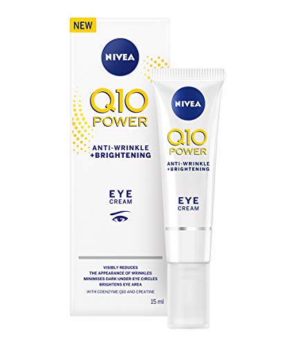 Nivea Q10 Power Bright Eye Cream, Anti-Wrinkle + Firming, Anti-Ageing Eye Cream with Creatine and Q10, Reduces Dark Circles and Puffiness, 15 ml