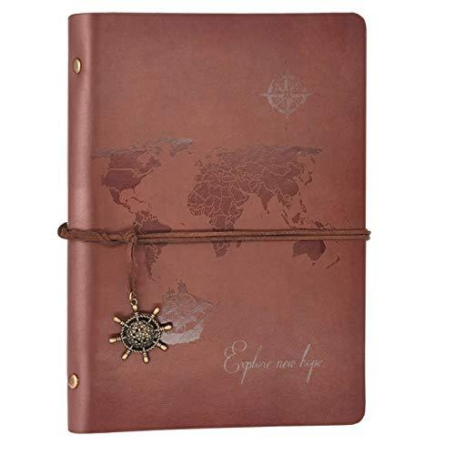 Diario A5 rellenable de piel, cuaderno de bocetos vintage, diario de viaje para niñas, mujeres y hombres, carpeta de 6 anillas, cuaderno de bocetos A5, 200 páginas en blanco para...