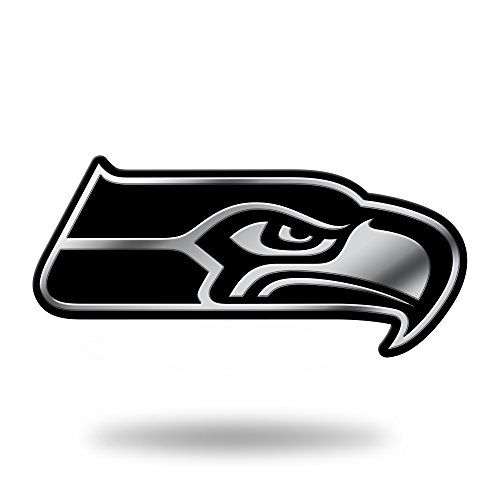 NFL Rico Industries Chrome Finished Auto Emblem 3D Sticker, Seattle Seahawks,Team Color,3 x 3.5-inches