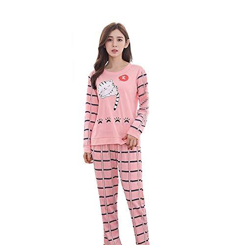 QiKun-Home Primavera y otoño nuevos Pijamas de Manga Larga Pantalones de Mujer Pijamas de Dibujos Animados Bonitos Pijamas de Invierno para Mujer Conjunto de Pijama de Cola Larga Gato XL