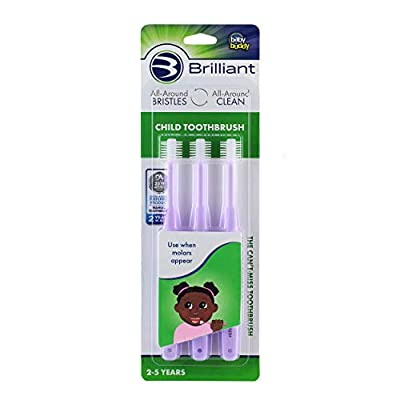 Brilliant Child Toothbrush by Baby Buddy - Ages 2-5 Years, When Molars Appear, BPA Free Super-Fine Micro Bristles Clean All-Around Mouth, Kids Love Them, Lilac, 3 Count
