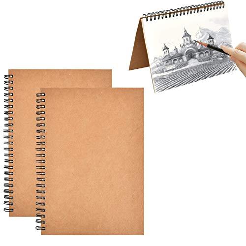 2 Piezas A4 Cuaderno de Bocetos Espiral, Bloc de Dibujo A4, Bosquejo de Papel en Blanco Blocs de Notas Cubierta de Kraft, 120 Páginas en Total, Adecuado para Bocetos, Dibujar, Graffiti