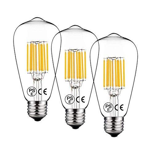 Bonlux 3-pack 10W ST64 E27 LED largo filamento lámpara Natural blanco 4000K Edison tornillo ES LED ardilla jaula antigua bombilla 100W incandescente equivalente (no regulable)