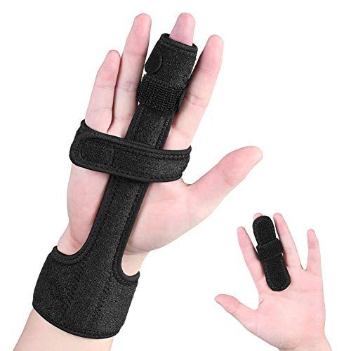 Férula de los dedos, extensión de dedo del gatillo, protector de manga fija de dedo ajustable con soporte de aluminio incorporado para la rigidez del dedo, la osteoartritis, el alivio del dolor de los