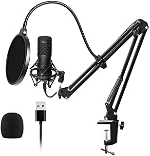 JVSISM USB Streaming Podcast Pc Microphone Professional Studio Cardioid Condenser Mic Kit with Sound Card Boom Arm Shock M...