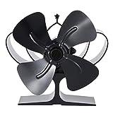 WYJW Ventilador de Estufa de Calor, Ventilador de Quemador de leña Ultra silencioso con 4 aspas, Ventilador de Estufa ecológico para leña/Quemador de leña/Chimenea/habitación Gran