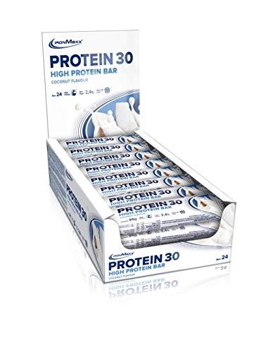 IronMaxx Protein 30 – Proteinriegel mit weniger als 1g Zucker (zuckerarm) & ohne Palmöl – weicher Eiweißriegel – Zusatz von Vitaminen – high Protein – Tray mit 24 x 35g Riegeln in Kokosnuss