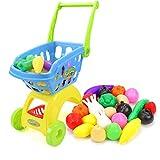 HJX888 Niños Carrito de Compras,Trolley Niños Niñas,Jugar rol Simulación Supermercado,Tienda Accesorios Comida Frutas Verduras Kit,Azul