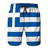 LJKHas232 Hombre 's Summer Boardshorts Pantalones Cortos Casuales Bandera Bandera de Grecia Textura de Fondo de Grecia Cerrar XXL