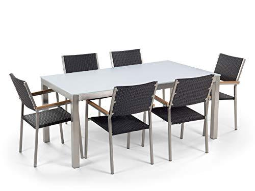 Beliani - Table de Jardin et 6 Chaises - Grosseto - Plateau en Verre, 180 x 90 cm, Chaises en Rotin Synthétique, Blanc et Noir