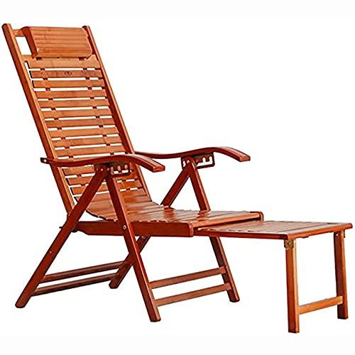 CHLDDHC Tumbonas Sillas de bambú para terraza Sillones reclinables de Ocio Sillón Plegable Sillón de Playa Respaldo de terraza Sillas de jardín Sillón reclinable con reposapiés
