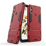 Funda Xiaomi Mi A2, Funda 2in1 Dual Layer 360° Full Body Anti-Shock Protección Silicona TPU Bumper y Duro PC Armadura con Soporte y Desmontable Carcasa para Xiaomi Mi A2 / Mi 6X, Rojo