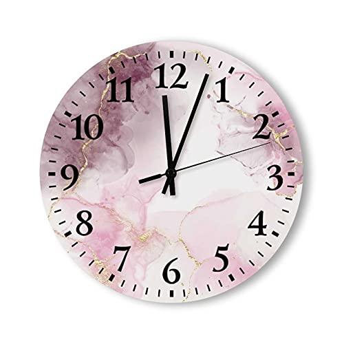Reloj de pared de madera de 30,5 cm, estilo rústico, silencioso, sin cosquillas, textura de mármol rosa y beige con rayas doradas, reloj para decoración de sala de estar, cocina, dormitorio