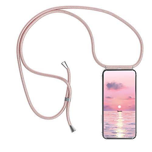 Funda para Xiaomi Redmi Note 8 Pro con Cuerda, Xiaomi Redmi Note 8 Pro Carcasa Transparente TPU Suave Silicona Case con Correa Colgante Ajustable Collar Correa de Cuello Cadena Cordón, Oro Ros