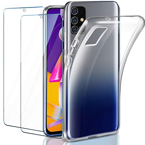 AROYI Hülle Kompatibel mit Samsung Galaxy M31s Hülle mit 2 Stück Panzerglas Schutzfolie, Durchsichtig Hülle Transparent Silikon TPU Schutzhülle 9H Festigkeit HD Panzerglasfolie Glas