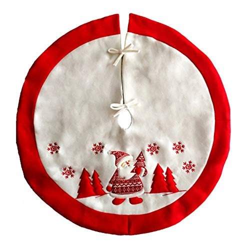 Proumhang Christmas Flannel Tree Skirt Xmas Holiday Decorations Double Layers Tree Skirt Felt With Classic Red Trim Border Embroidered Santa Claus Snowflake 36'(90cm)