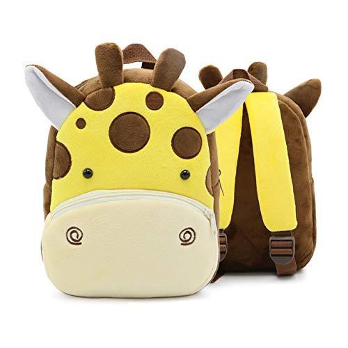 LDGGS Mochila de felpa con diseño de animales de dibujos animados para bebé, mochila de peluche, mochila de viaje para niños de 2 años (jirafa)