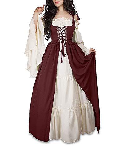 Guiran Damen Mittelalterliche Kleid mit Trompetenärmel Mittelalter Party Kostüm Maxikleid rot M