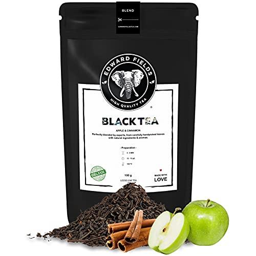 Edward Fields Tea ® - Té negro orgánico a granel con Manzana y Canela. Té bio recolectado a mano con ingredientes naturales, 100 gramos, India
