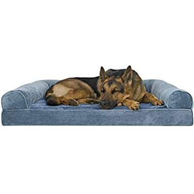 Furhaven Pet Dog Bed | Orthopedic Faux Fleece & Chenille Sofa-Style Couch Pet Bed for Dogs & Cats, Harbor Blue, Jumbo