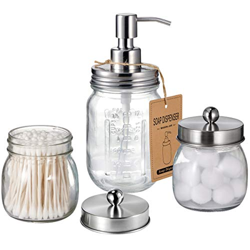 Mason Jar Bathroom Accessories Set - Includes Liquid Hand Soap Dispenser and Qtip Holder Set - Rustic Farmhouse Decor Apothecary Jars Bathroom Countertop and Vanity Organizer (Brushed Nickel)