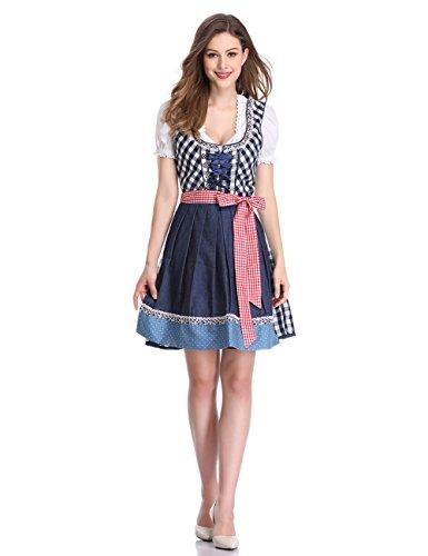 KOJOOIN klederdrachtjurk voor dames, dirndl-jurk, korte mouwen, dirndlblouse voor Oktoberfest, driedelig, jurk, blouse, schort