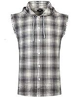 NUTEXROL Mens Sleeveless Fannel Shirt Casual Cotton Plaid Vest Hoodies Black 3XL