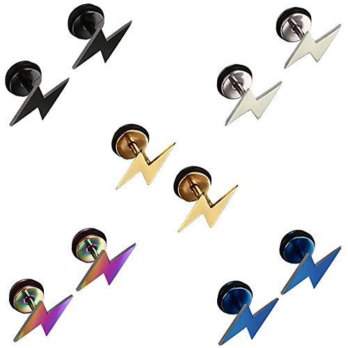 5 Pairs Stainless Steel Stud Earrings Set for Men Women Girl Boy, Men Earrings Gold, Lightning Silver Earrings for women, Titanium Black Earrings Studs Small Piercing Plugs Tunnel Hypoallergenic 8MM