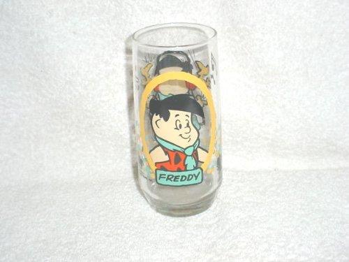 1986 Picapiedra niños Freddy vaso de cristal de Pizza Hut