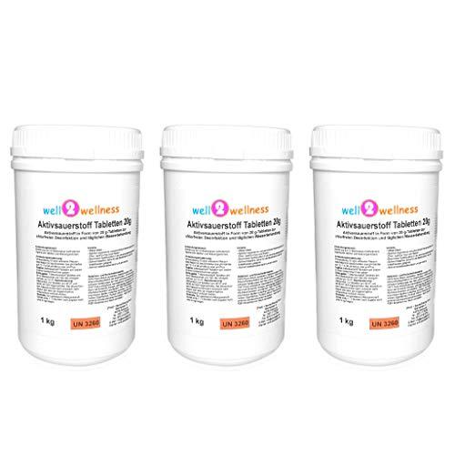 well2wellness Aktivsauerstoff Tabletten 20g / Sauerstofftabs/O²-Tabs 20g chlorfrei - 3,0 kg (3 x 1,0 kg)