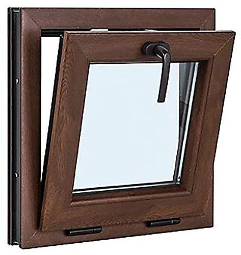 TermProtect | Ventana PVC 50 cm x 50 cm | Color Nogal | Solo basculante | Alto aislamiento termico y acustico | Vidrio Opaco | Perfecto Para Ventilacion | Resistente al sol