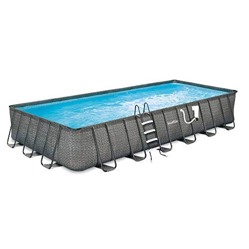 Summer Waves 24ft x 12ft x 52in Rectangle Above Ground Frame Outdoor Swimming Pool Set with Sand Filter Pump, Pool Cover, Ladder, and Ground Cloth