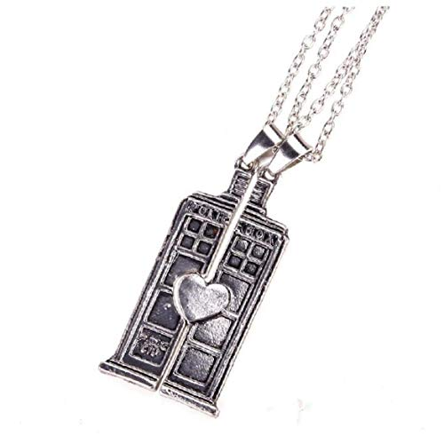 Lankater 2pcs Doctor Who Tardis Box Pendant Necklace Valentine's Day Present Jewelry for Couples