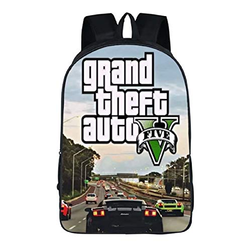 Grand Theft Auto V Mochila con auriculares Jack Hole Picture Schoolbag...