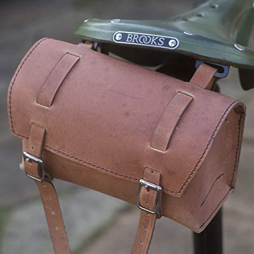 Buy LondonCraftwork Classic Square Saddle/Handlebar Bicycle Bag Genuine Leather Vintage Brown for Bi...