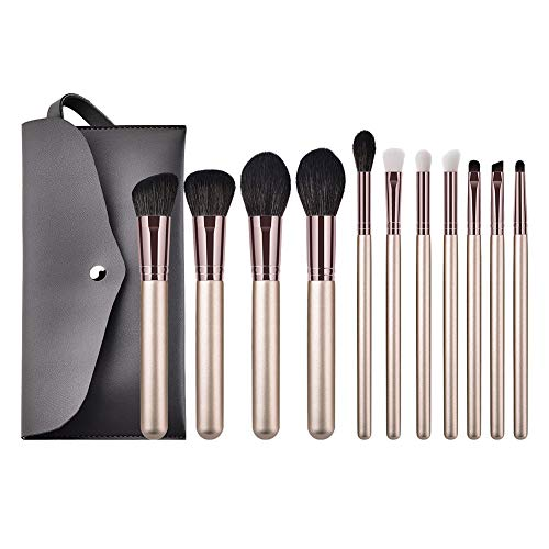 Wansan 11PCS Maquillage Brushes Professionnel Synthétique Fusion Foundation Concealer Visage Liquide Poudre Liquide Crème Cosmétique Kit (Comprend un sac à cosmétiques) Blanc