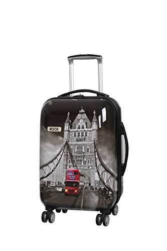 Rock London Montana - Valigia espandibile a 8 ruote Nero Tower Bridge Small - 55 x 36 x 24.5 cm - 3 kg
