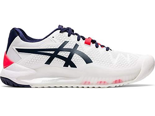 ASICS Women's Gel-Resolution 8 (D) Tennis Shoes, 5W, White/Peacoat