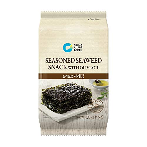Chung Jung One Seasoned Seaweed Snacks (Kim Nori), Roasted with Oliver Oil, Product of Korea, 18 count (18 individual pack), 0.16oz (4.5g)