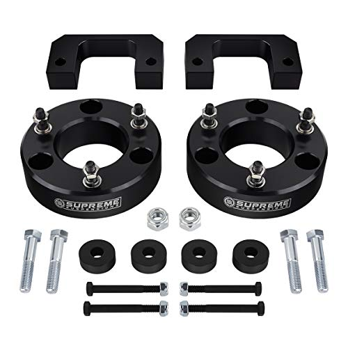 Supreme Suspensions - Front Lift Kit for 2007-2018 Silverado and Sierra Leveling Kit 3.5  Front Suspension Lift Strut Spacers + Differential Drop 4WD (Black) Pro