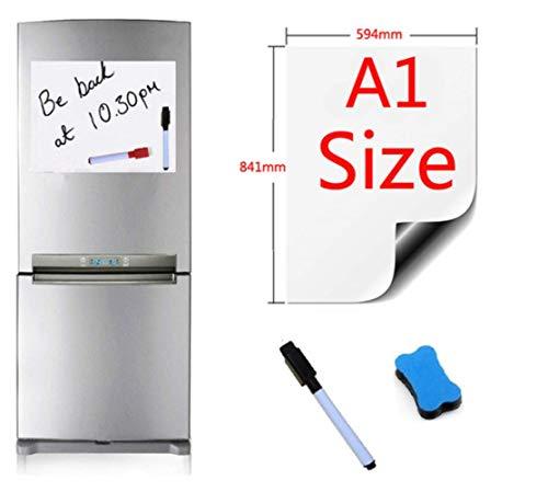 THREE Bürobedarf Schreibwaren magnetisches Whiteboard A1 Größe 594X841Mm Kühlschrankmagnete Trocken Abwischen Whiteboard Schreibtafel Magnetischer Filzstift Radiergummi, A1-1Pen1Eraser