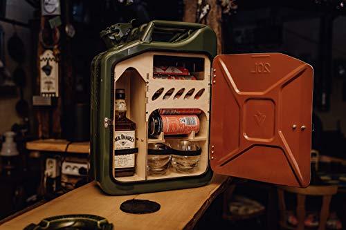 Hunsrück Manufaktur Jerrycan met geïntegreerde bar Jerrycan van de Bundeswehr Whiskey bar Jerry kan draagbare jenever opbergen. Mooie decoratie. Minibar/mannenhandtas
