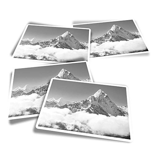 Vinyl Rectangle Stickers (Set of 4) - BW - Snowy Mount Everest Mountaineering Fun Decals for Laptops,Tablets,Luggage,Scrap Booking,Fridges #36606