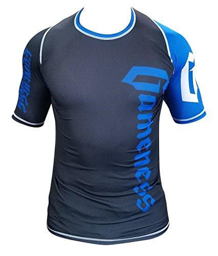 Gameness Jiu Jitsu Ranked Rash Guard Short & Long Sleeve, Adult & Kids (Blue, Large: Long Sleeve)