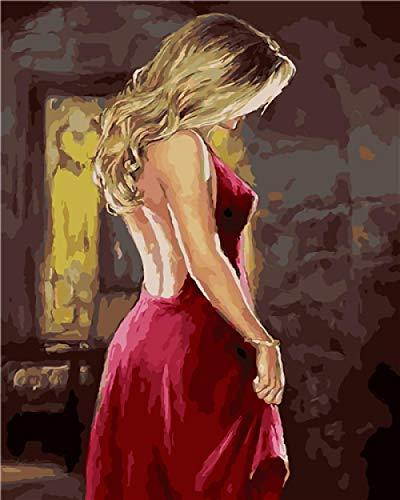 Dipingere con i Numeri Pittura - Donna Sexy In Abito Rosso, Adulti...