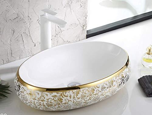 InArt Lavabo Sobre Encimera de Baño Lavabo Porcelana forma ovalada de cerámica para baño Lavabo de Cerámica, Fregadero de sobre Encimera 60 x 40 x 15 CM (Diseño de hoja de color oro blanco)